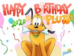 2020 4:3 balloon birthday black_eyes bone canid canine canis collar disney domestic_dog english_text feral floppy_ears harara hi_res holding_object looking_at_viewer male mammal mouth_hold pluto_(disney) signature smile solo text yellow_body