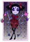 anthro arachnid arthropod beverage black_eyes black_hair clothing croissant cupcake dress fangs food grey_skin hair hair_bow muffet multi_limb multiple_eyes noseless smile solo spider tanyan-art tea tea_cup tea_pot undertale  Rating: Safe Score: 0 User: ROTHY Date: October 02, 2015