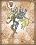 2013 anthro anthrofied blonde_hair breasts butt clothed clothing cutie_mark derpy_hooves_(mlp) digital_media_(artwork) equine female food friendship_is_magic fur grey_skin hair hi_res legwear looking_back mammal muffin my_little_pony pegasus pose raised_leg raptor007 side_boob skimpy solo spacesuit thought_bubble wings yellow_eyes yellow_fur  Rating: Safe Score: 1 User: GameManiac Date: March 19, 2015