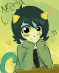 :3 black_hair blush bonnieokie cute grey_skin hair homestuck looking_at_viewer ms_paint_adventures nepeta_leijon troll   Rating: Safe  Score: 0  User: Zedee  Date: April 16, 2014