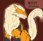 2013 ambiguous_gender arcanine backlash91 black_nose canine feral fur looking_away mammal nintendo orange_fur plain_background pokémon red_eyes sitting solo video_games white_fur   Rating: Safe  Score: 0  User: Finchmaster  Date: March 12, 2014