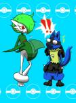 !! blue_background clothing duo gallade gardevoir lucario nintendo pants pants_down plain_background pokémon shocked sweat the_truth undressing video_games what   Rating: Safe  Score: 5  User: SYphonkedo  Date: June 16, 2014