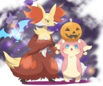 ambiguous_gender anthro armpits audino bat biped blue_eyes canine delphox duo duo_focus ecru_(artist) food fruit fur golbat group halloween holidays jack_o'_lantern long_fur mammal membranous_wings nintendo orange_eyes pokémon pseudo_clothing pumpkin size_difference video_games wings zubat