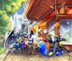 absurd_res aerodactyl building canine chair day delphox detailed_background fox group hi_res lanturn lucario mammal map meowstic nintendo outside pokémon sa-dui sky table video_games zweilous