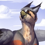 ambiguous_gender avian beak feathers feral gryphon kuroame open_mouth outside solo standing