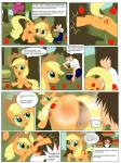 absurd_res animal_genitalia animal_pussy anus apple applejack_(mlp) big_butt blonde_hair butt comic cutie_mark dialogue duo earth_pony english_text equine equine_pussy food friendship_is_magic fruit fur furry_tail green_eyes hair happy hat hi_res horny horse human long_hair mammal mlp1987 my_little_pony one_eye_closed orange_fur picking_up pony ponytail pussy pussy_juice smile text tired title  Rating: Explicit Score: 11 User: slyroon Date: January 02, 2016