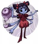 anthro arachnid arthropod black_eyes black_hair blue_skin clothing cubewatermelon dress fangs female hair hair_bow muffet noseless smile solo spider spider_web tea_cup tea_pot undertale  Rating: Safe Score: 0 User: ROTHY Date: October 10, 2015