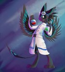 3_fingers 3_toes 4_ears ambiguous_gender anthro avali black_body black_feathers black_sclera blue_body blue_eyes blue_feathers bottle clothed clothing coat eyewear feathers fingers fully_clothed goggles goggles_on_head green_liquid grey_body grey_feathers lab_coat mammal multi_ear nexeron potion red_liquid science smile solo toes topwear wings