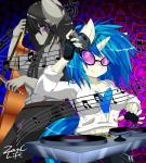 2015 anthro anthrofied black_hair blue_hair bow_(stringed_instrument) cello clothing duo earth_pony equine eyewear female fingerless_gloves friendship_is_magic fur glasses gloves grey_fur hair headphones hi_res horn horse mammal multicolored_hair music_notes musical_instrument my_little_pony octavia_(mlp) pony purple_eyes red_eyes turntable_(decks) two_tone_hair unicorn vinyl_scratch_(mlp) white_fur zanclife  Rating: Safe Score: 16 User: ultragamer89 Date: February 15, 2015