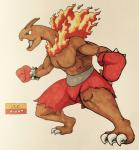 2017 3_toes alternate_color angry anthro anthrofied biceps biped boxing_gloves bracelet brown_horn brown_skin brown_tail claws clothed clothing dinosaur english_text fakémon fighting_stance fire firefightdex fist flaming_mane foreshortening full-length_portrait gloves green_eyes hatching_(technique) hi_res horn humanoid_hands jewelry leaning leaning_forward long_neck male mane meganium mfanjul muscular muscular_male nintendo open_mouth pecs pen_(artwork) pink_tongue pokémon pokémon_(species) pokémorph portrait raised_heel red_bottomwear red_clothing sauropod scalie shadow shorts side_view simple_background solo spiked_bracelet spikes standing text toe_claws toes tongue toony topless traditional_media_(artwork) uniform video_games white_background white_clawsRating: SafeScore: 3User: DiceLovesBeingBlownDate: March 09, 2018