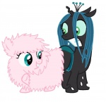 changeling duo earth_pony equine fan_character female feral fluffle_puff fluffy_pony friendship_is_magic fur green_eyes hair horn horse mammal my_little_pony plain_background pony queen_chrysalis_(mlp) smile teeth what white_background  Rating: Safe Score: 5 User: RebeccaShy Date: March 29, 2015""