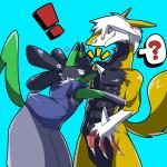 beastman brothers canine cute duo fan_character hair humor ivan_the_lucario_(character) jackal johnsergal_(character) kemono lucario male mammal nintendo osukemo otokonoko pokémon sergal sibling silver spikes sudden surprise video_games   Rating: Safe  Score: 5  User: JohnSergal  Date: May 06, 2015
