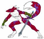 absurd_res anthro arlin armor athletic black_nose black_sclera blue_eyes bracers canine chest_fur chest_tuft digimon fan_character featureless_crotch fighting_stance fox fur hi_res longsword male mammal markings melee_weapon pose purple_markings rainsingingdragon red_fur renamon simple_background solo sword tattoo tuft weapon white_background white_fur  Rating: Safe Score: 1 User: PhilosophicalMind Date: January 02, 2016