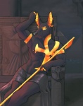 anubian_jackal anubis black_fur canine deity ear_piercing egyptian fur gold jackal male mammal nipple_piercing nipples piercing rick_griffin throne   Rating: Safe  Score: 5  User: Wakboth  Date: May 29, 2015
