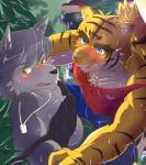 "amber_eyes anthro big_muscles blue_eyes canine clothing dog feline hedge husky kouya_aotsuki mammal morenatsu muscles sweat tiger torahiko_ooshima  Rating: Questionable Score: 2 User: Kod Date: June 25, 2015"""