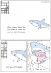 cage comic english_text feral fish human humor mammal marine open_mouth scuba_diver scuba_gear shark sharp_teeth teeth text the_truth theycantalk  Rating: Safe Score: 12 User: FatherOfGray Date: August 25, 2015