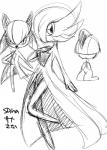 ambiguous_gender clothing cute dress eyelashes gardevoir horn japanese_text kiriya kirlia looking_at_viewer monochrome nintendo open_mouth pokémon ralts simple_background sketch text video_games  Rating: Safe Score: 1 User: DeltaFlame Date: September 24, 2015