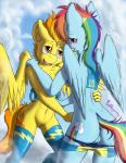 2015 anthro anthrofied back blue_fur blush bottomless clothed clothing cloud cutie_mark duo equine female female/female friendship_is_magic fur hair half-closed_eyes half-dressed hi_res legwear long_hair mammal multicolored_hair my_little_pony navel open_mouth orange_hair panties panties_down pegasus punk-pegasus pussy rainbow_dash_(mlp) rainbow_hair spitfire_(mlp) striped_panties thigh_highs underwear undressing wings wonderbolts_(mlp) yellow_fur  Rating: Explicit Score: 14 User: lemongrab Date: July 08, 2015