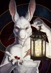 abstract_background albino anthro c.t.elder claws dice ears_up hare holding_object lagomorph lantern looking_at_viewer male mammal menacing portrait red_eyes rupert_(sf) scar semper_fidelis solo star whiskers zodiac_(astrology)