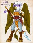 2015 ambris anthro anthrofied armor avian female friendship_is_magic gilda_(mlp) gryphon looking_at_viewer melee_weapon my_little_pony polearm solo spear weapon wings yellow_eyes  Rating: Safe Score: 11 User: ultragamer89 Date: November 20, 2015