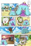 </3 <3 beach brionne budew comic dartrix feral fomantis mareanie nintendo petilil pokemoa pokémon seaside spikes sunset tentacles video_games water