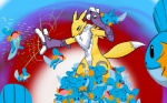 blue_body blue_eyes canine crossover digimon facial_markings female fox fur gloves gradient_background h_box markings mudkip neck_ruff nintendo pokémon renamon video_games white_fur yellow_fur   Rating: Safe  Score: 1  User: Test-Subject_217601  Date: December 03, 2011