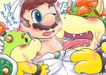 2017 age_difference blush bowser bowser_jr. clothed clothing crossdressing group hand_on_head human japanese_text kakalon koopa licking male male/male mammal mario mario_bros nintendo nipple_lick nipples saliva scalie simple_background size_difference sweat text tongue tongue_out video_gamesRating: ExplicitScore: 2User: ZestDate: May 23, 2018