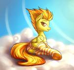 2014 clothing cloud cutie_mark equine female feral friendship_is_magic fshydale fur hair legwear looking_at_viewer mammal my_little_pony orange_hair outside panties pegasus sky socks solo spitfire_(mlp) striped_legwear underwear wings wonderbolts_(mlp) yellow_fur   Rating: Questionable  Score: 22  User: lemongrab  Date: November 16, 2014