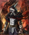 abs anthro biceps clenched_teeth clothed clothing dragon fire grin hair hi_res male muscular pecs pose scalie smile solo standing teeth topless white_hair 魔夜星辰Rating: SafeScore: 18User: Der_TraubenfuchsDate: December 14, 2012