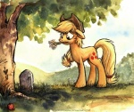 2014 <3 applejack_(mlp) blonde_hair bush cloud cowboy_hat cutie_mark earth_pony equine female feral flower freckles friendship_is_magic grass grave gravestone green_eyes hair hat horse kenket mammal mountain my_little_pony outside plant pony sky solo sophiecabra tree  Rating: Safe Score: 13 User: 2DUK Date: May 20, 2014