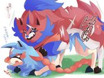 4:3 ambiguous_gender ambiguous_penetration blue_body blue_fur blush bodily_fluids canid canine claws duo fur hi_res japanese_text legendary_pokémon mammal maruta nintendo penetration pokémon pokémon_(species) red_body red_fur sex simple_background sweat text translation_request video_games white_background zacian zamazenta