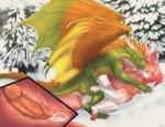 2018 4_toes brown_feathers cannibalistic_tendencies claws cum cum_in_pussy cum_inside curved_horn cutaway digital_media_(artwork) dragon duo ejaculation eyes_closed face_lick feathered_wings feathers female feral feral_on_feral fluffy fluffy_tail forest fur furred_dragon glans green_skin head_tuft hi_res horn internal knot knotting lila_(sousuke81) looking_at_another looking_at_partner looking_down looking_pleasured lying male male/female male_penetrating membranous_wings missionary_position neck_tuft on_back on_top open_mouth open_smile orgasm outside pawpads penetration penis pink_claws pink_fur pink_horn pink_nose pink_pawpads pink_penis pink_tongue pussy quadruped scalie scar sex sharp_claws sharp_teeth side_view signature slit_pupils smaller_version_at_source smile smooth_horn snow spread_wings teeth thigh_grab toe_claws toes tongue tongue_out tree tuft vaginal vaginal_penetration verd western_dragon white_claws white_fur white_horn wingless_dragon wings yellow_eyes yellow_skin
