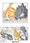 angry blush comic eating female floatzel kemono luxray male nintendo pokémon sleeping translated unknown_artist video_games   Rating: Safe  Score: 1  User: KemonoLover96  Date: March 27, 2015