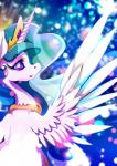 2018 abstract_background blurred_background crown cute cutie_mark equine eyelashes eyeshadow feathered_wings feathers female friendship_is_magic hair half-length_portrait horn looking_away makeup mammal mascara multicolored_hair my_little_pony nude open_mouth open_smile portrait princess_celestia_(mlp) purple_eyes rariedash royalty smile solo sparkles winged_unicorn wings