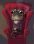 anthro armchair artsammich brown_eyes bulging_eyes canine chair classy crossed_legs dog dressing_gown frown humor lol_comments male mammal pawpads paws pipe pug serious_business sitting smoking solo what wrinkles   Rating: Safe  Score: 54  User: Kald  Date: February 13, 2011