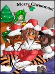 4_toes animal_humanoid anthro basitin black_fur blue_eyes blush bottomless brown_eyes brown_fur brown_hair canine cat_humanoid chest_tuft christmas christmas_tree clothed clothing compression_artifacts covering covering_self cute ear_tuft feline female flora_(twokinds) fox fur fur_trim gift green_eyes green_hair group hair hat holidays holly_(plant) human humanoid inner_ear_fluff inside karen_taverndatter keidran laura_(twokinds) long_hair looking_at_viewer mammal natani open_mouth orange_fur plant santa_hat shirt stripes tiger toes tom_fischbach tree tuft twokinds white_fur wolf wood yellow_eyes  Rating: Safe Score: 3 User: Chessax Date: June 17, 2015