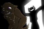 anthro canine cat caught cum dog duo feline grin imminent_rape male mammal purple_eyes rape_face syynx teeth walk-in