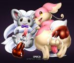 anal anal_penetration animal_genitalia animal_penis audino backsack balls bow_tie canine_penis cinccino cum cum_in_ass cum_inside cum_while_penetrated disembodied_penis duo_focus girly group male male/male nintendo not_furry parallel_sex penetration penis pokémon simple_background spaca video_games