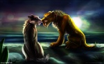 16:10 color_contrast couple diego_(ice_age) fangs feline female feral ice_age licking male mammal saber_teeth sabertooth sea shira_(ice_age) shore smilodon straight tai-l-rodriguez tongue wallpaper water web_address   Rating: Safe  Score: 16  User: UniversalLionsgate89  Date: November 26, 2012