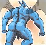 2015 anthro balls big_muscles butt digimon digital_media_(artwork) exveemon faceless_male flaccid male muscles narc nude partially_retracted_foreskin penis rear_view scalie signature sketch solo uncut wings  Rating: Explicit Score: 5 User: Circeus Date: August 27, 2015