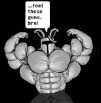 abs armor biceps big_muscles clothed clothing flexing half-dressed helmet hyper hyper_muscles lagomorph male mammal monochrome muscular pecs pose rabbit rg01 ripped-saurian solo text topless undertale video_games  Rating: Safe Score: 1 User: Tealmarket Date: October 09, 2015