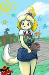 angry animal_crossing anthro bell breasts building canine clipboard clothed clothing cute dog duo female helmet isabelle_(animal_crossing) male mammal mole nintendo ribbons shih_tzu simple_background skirt smile sonny_resetti star sun tgwonder video_games   Rating: Safe  Score: 14  User: Occam  Date: April 20, 2015