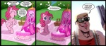 adventure_time balloon blonde_hair blue_eyes cake comic crossover cutie_mark dialogue drooling duke_nukem english_text equine eyes_closed eyewear female feral food friendship_is_magic glasses gun hair horse human long_hair madmax male mammal my_little_pony open_mouth pink_hair pinkie_pie_(mlp) pony princess_bubblegum ranged_weapon rape_face saliva shotgun sunglasses text tongue tongue_out weapon   Rating: Safe  Score: 17  User: Dogenzaka  Date: May 19, 2012