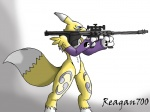 angry blue_eyes canine claws digimon facial_markings female fox gloves gradient_background gun markings naturally_censored ranged_weapon reagan700 renamon rifle sniper_rifle solo weapon yellow_fur   Rating: Safe  Score: 2  User: Test-Subject_217601  Date: December 09, 2011