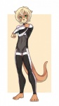 anthro barefoot blonde_hair bodysuit brown_nose bulge caninelove clothing cute green_eyes hair male mammal mustelid otter simple_background skinsuit solo  Rating: Safe Score: 10 User: Hardstyle_Chris Date: September 05, 2013