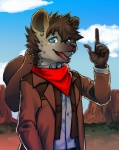 2015 blue_eyes clothing cowboy cute dessert food gesture hat hyena male mammal mayobug scarf shirt shota vest western young   Rating: Safe  Score: 0  User: uiou  Date: May 23, 2015