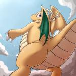 2015 ambiguous_gender claws cloud dragon dragonite feral hi_res horn looking_at_viewer membranous_wings nintendo orange_skin outside pokémon pokémon_(species) reptile scalie shikaro sky smile solo teeth video_games wings