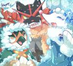 avian blue_eyes cryogonal decidueye fangs feline female feral group holidays incineroar male mammal marine new_year nintendo pink_nose pinniped pokémon primarina video_games あじの缶詰