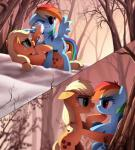 2015 applejack_(mlp) bedroom_eyes blonde_hair cutie_mark duo equine female freckles friendship_is_magic hair half-closed_eyes horse mammal messy messy_hair multicolored_hair my_little_pony outside pegasus playing pony rainbow_dash_(mlp) rainbow_hair ruhje snow tree wings   Rating: Safe  Score: 7  User: 2DUK  Date: May 19, 2015