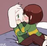 2016 ambiguous_gender anthro asriel_dreemurr bed blush boss_monster brown_hair brown_pants caprine chara_(undertale) child clothed clothing cub duo fur goat green_eyes hair hands_on_cheeks human kissing long_ears male mammal rie_(artist) short_hair simple_background undertale video_games white_fur young